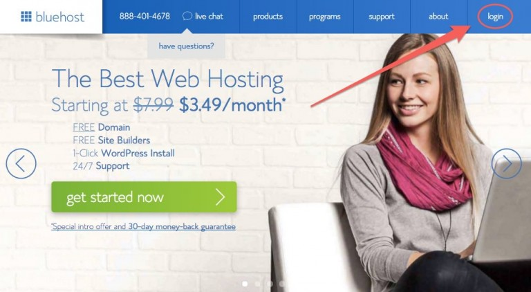 How to Start a Website or Blog - Login to Bluehost